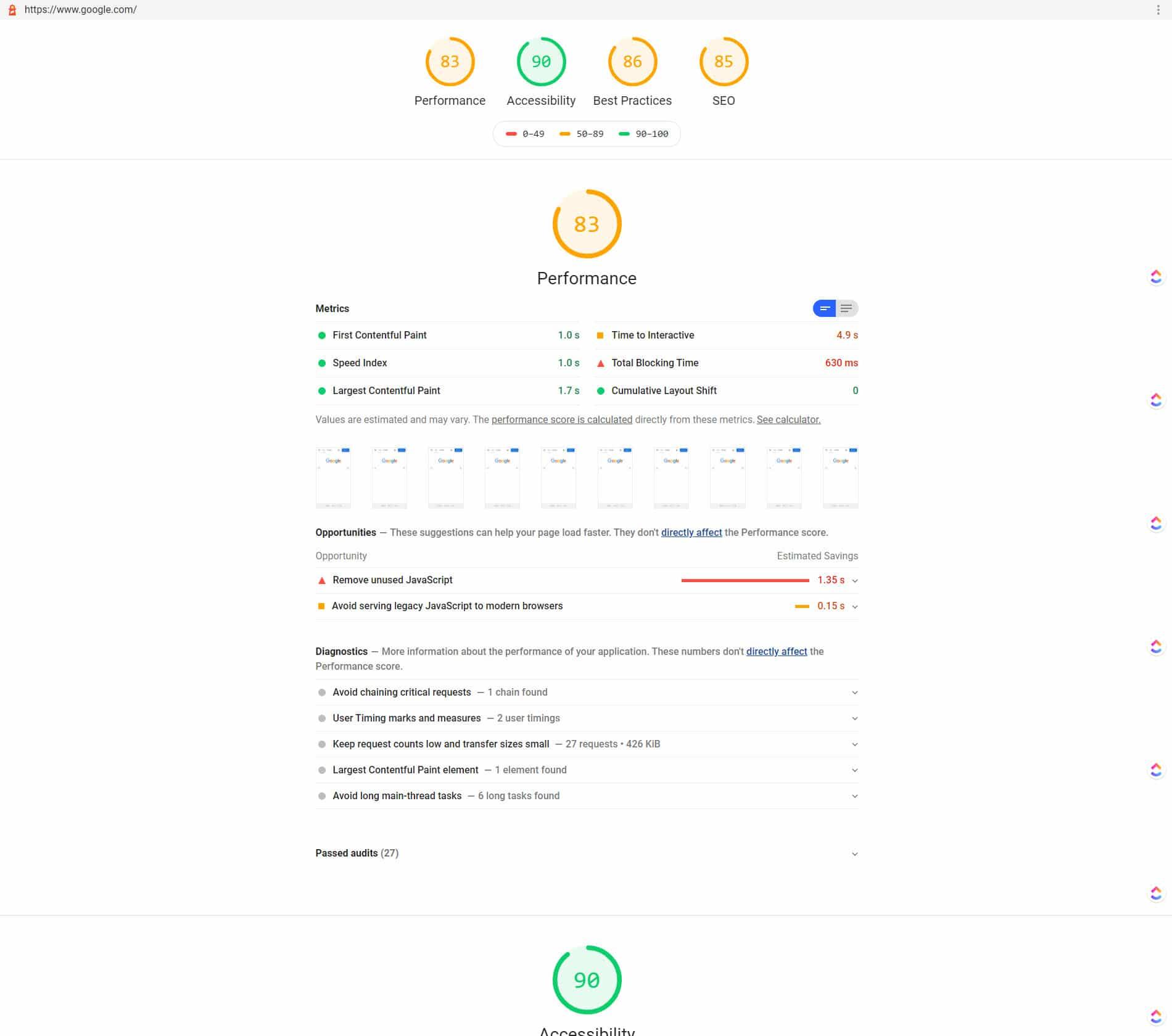 Google.com no logra una puntuación (score) alta 1