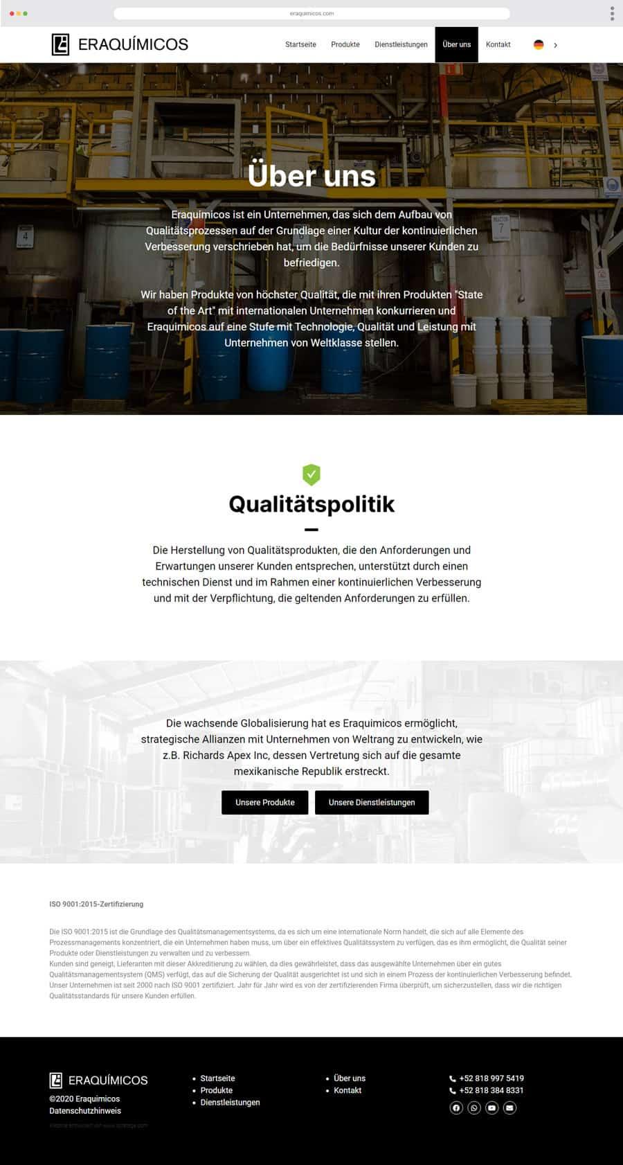 Diseño Web Eraquimicos